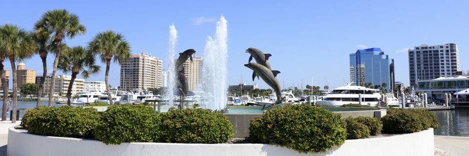 Downtown Sarasota with dolphin fountain